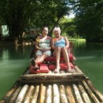 me and my mum on the raft