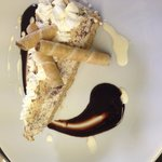 Baileys cheesecake with dark warm choc sauce mmmmm