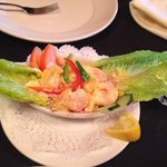 A delicious canoe of shrimp salad