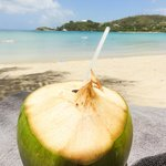 Coconut drink on the beach -add the rum!