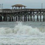 Waves crashing on the beach at Springmaid Resort