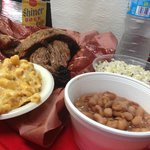 Brisket, jalapeno mac & cheese, coleslaw, and beans