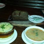 Onion Soup, Bean Soup, and Bread.