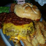 3/4 pound Angus burgers were amazing.! This is the chili burger. My daughter and I split one and