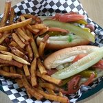 Two delicious chicago style hot dogs and fresh cut fries - Delicious