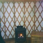 Fireplace inside yurt