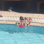 Girls by the pool