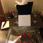 A nice personal touch & lovely to arrive to, for our anniversary!