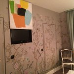 Room 505, TV hidden behind art piece