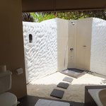 Outside shower in beach villa