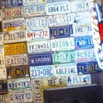 license plates on the ceiling