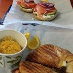 Lox and bagel. Steak breakfast sandwich with corn grits. All fantastic.