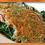 Chicken Mezzaluna~Sauteed chicken, eggplant & spinach in a light marsala wine sauce & mozzarella