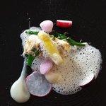 Griet met asperge, champagne, topinamboer en truffel