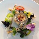 Asparagus & cheddar brûlée