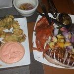 Fried calamares and seafood platter