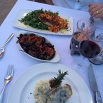 Filet with Gorgonzola cheese, swordfish with mango salsa, brussle sprouts