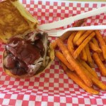 BBQ Beef sandwich w/ sweet potato fries!