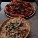 Pizza and carbonara