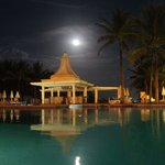 The pool and bar at nighttime