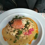 Fish/lobster claw on beet mashed potatoes