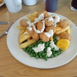 Huge scampi and chips with peas (and tartar sauce! ) on the side, divine!