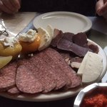 smoked meat, cheese and pickled veggie platter