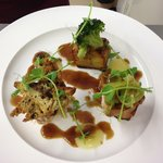 Trio of Pork, Pomme Anna, Apple Purée & Black Pudding Dumpling.