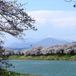 蔵王連山を背景に