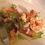 Beautiful Mooloolaba Prawns with polenta chips and a spiced sand. (YUM!)
