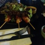Chicken and beef skewers