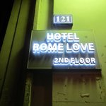 The sign for the hotel