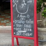 Arom d Hostel Cafe sign