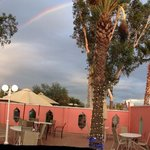Govinda's pretty patio with a rainbow!  So pleasant!