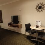 Dining table and television