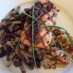 Yummy salmon with amazing mushrooms and white bean salad