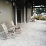 Rocking chairs at the trailhead building are a fun touch.