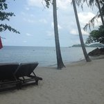 stranden lige ved hotellet.