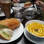 Fresh garlic bread & pumkin soup..yum