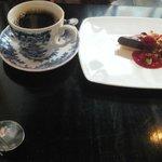 chocolate pie  with raspberry  sauce