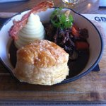 Deconstructed Oxtail Pudding with Mash, Puff Pastry and Bacon