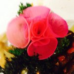 Decorative flower came like garnish which was edible!!! Nice touch