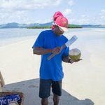 Sandbank picnic - he opened the coconuts for us before leaving us for several hours