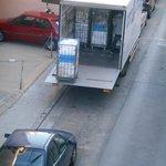 Delivery vans queuing