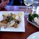 Sea Bass & Prawn main course