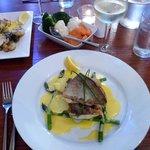 Sea Bass with Asparagus with Hollandaise Sauce