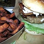 Bufflo burger with goats cheese and bacon.