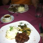 The shared steak and sides.