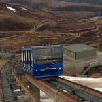 Cairngorm Funicular on its way to the snow covered Mountain.