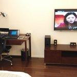 office desk and tv set